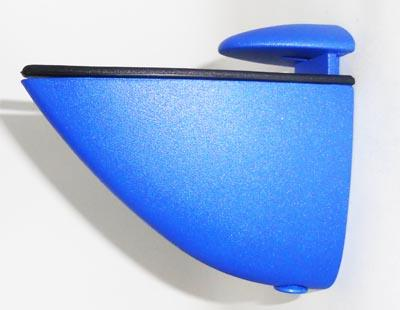 Soporte reg. curvo para estantes de hasta 40 mm. - Disponible en azul