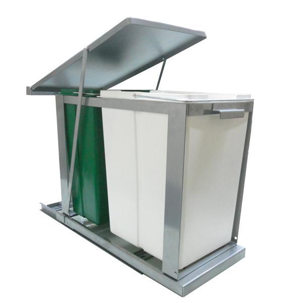 Cesto de basura doble extra ble para cocina herrajes san for Herrajes para muebles de bano