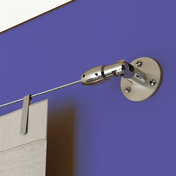 Kit tensor para cortina de ventana helsinki en cromo for Soportes para colgar cortinas